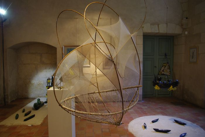 """""""Navire à tous vents"""", osier, nylon, ficelle, Exposition """"Hissons les voiles"""" avec Marc Brémont, 2010"""