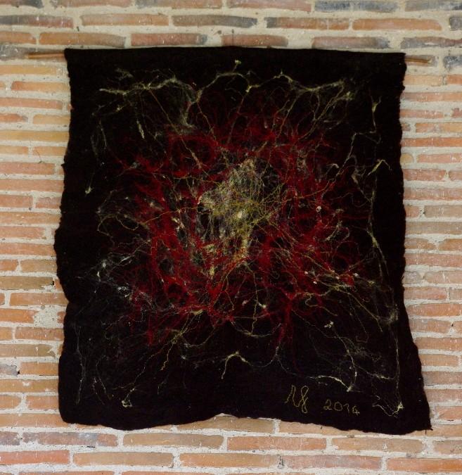 """""""Fusion"""" tapisserie en lain e feutre, 130x140cm, 2014"""