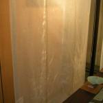 Tenture en tarlatane et fibres (soie, ramie) 140x180cm