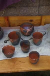 bols tournés, terre du Fuilet, émail transparent raku
