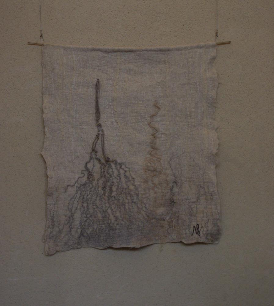 """""""racines"""", laine Xaxi Ardia, corde, ficelle, fils filés au rouet, 130x160cm, 2015"""