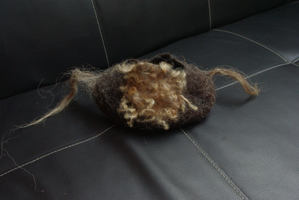 Sans-titre, laines feutrées (Noire du Velay, agneau Xaxi Ardia), 20x10cm, 2015